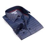 Horizontal Stripe Button-Up Shirt // Charcoal + Blue (S)