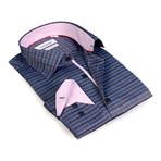 Contrast Horizontal Stripe Button-Up Shirt // Charcoal + Blue (S)