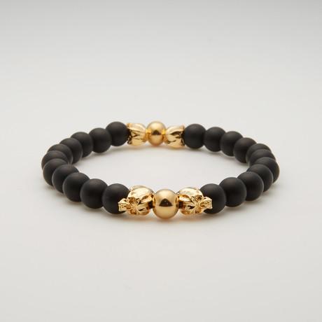 Bead Bracelet // Gold Cyber Skulls + Onyx
