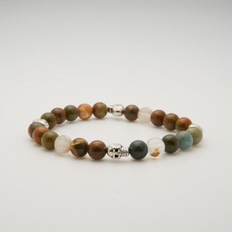Bead Bracelet // Silver Skulls + Ocean Agate