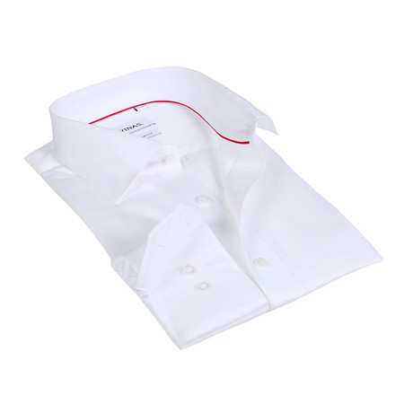 Textured Solid Button-Up Shirt // White (S)