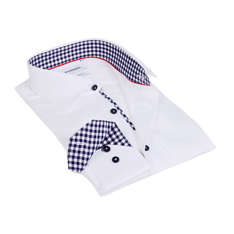 Gingham Collar Contrast Buttons Shirt // White (S)