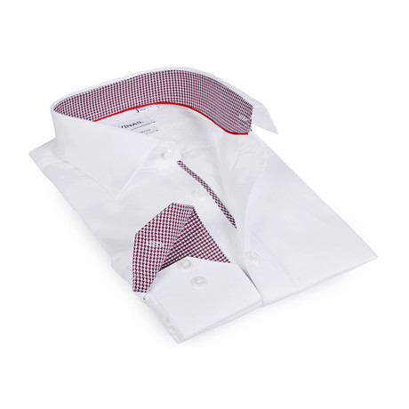 Houndstooth Collar Solid Button-Up Shirt // White (S)