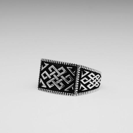 Sterling Silver Interlocked Chain Ring // Silver