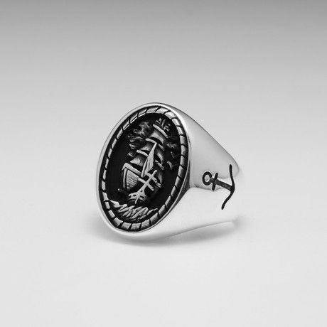 Sterling Silver Nautical Sailing Boat Ring // Silver