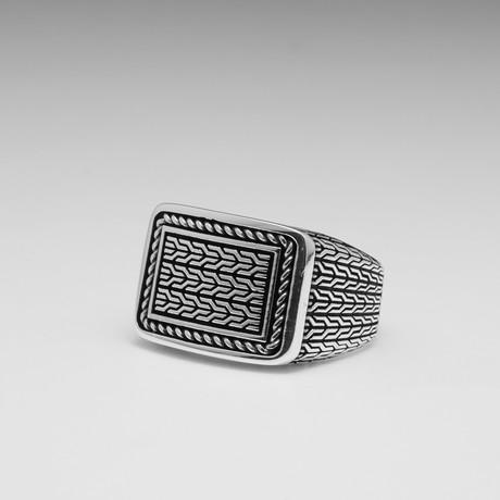 Sterling Silver Interwoven Wheat Design Ring // Silver