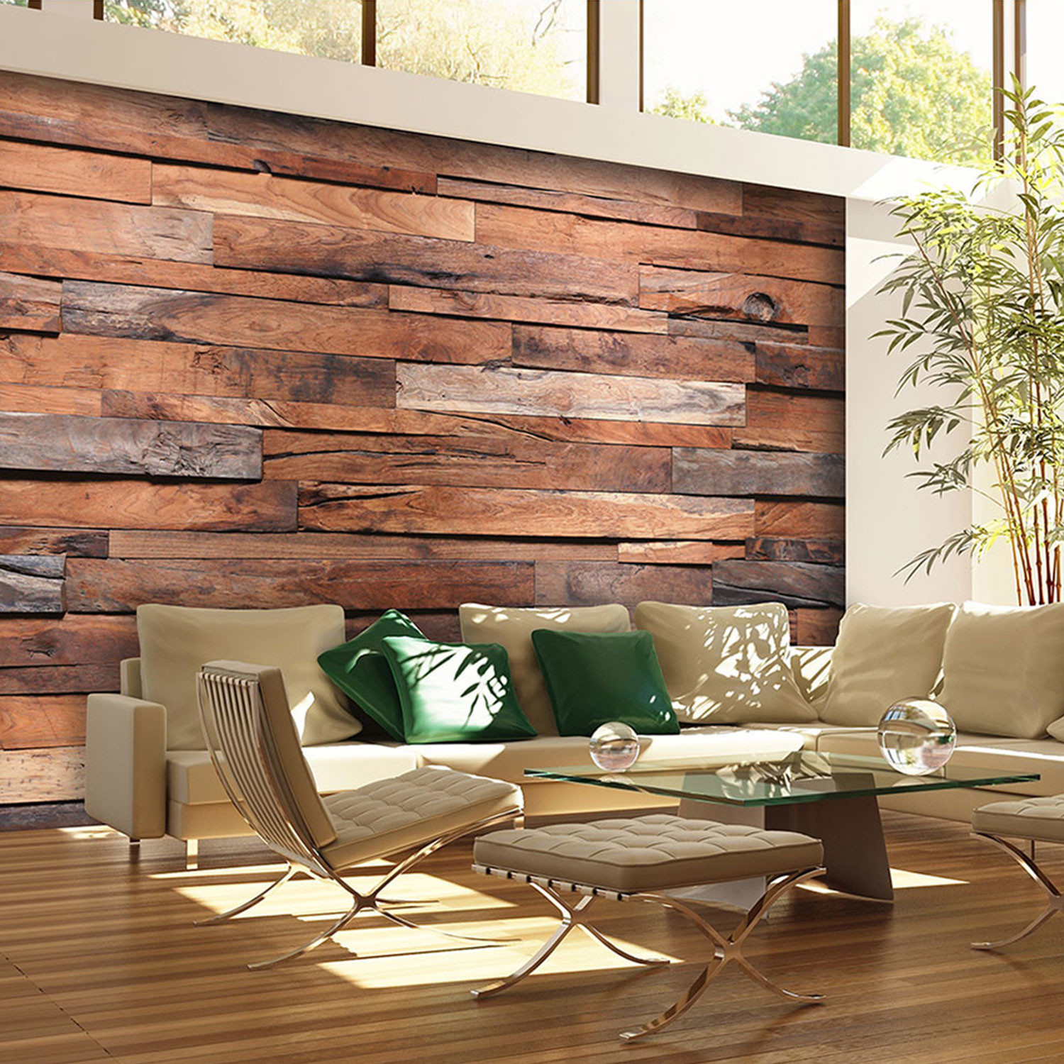Wooden wall walplus touch of modern - Fotomurales pared ...