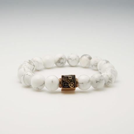 Howlite Bead Bracelet // White + Brass