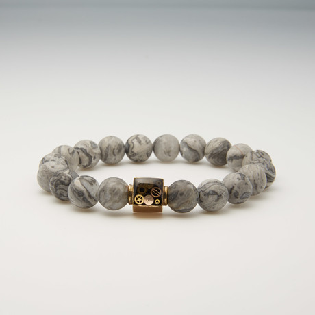 Netstone Bead Bracelet // Light Gray + Gold