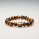 Tiger's Eye Bead Bracelet // Brown + Gold