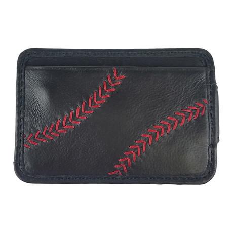 Baseball Stitch Front Pocket + Magnetic Money Clip // Black
