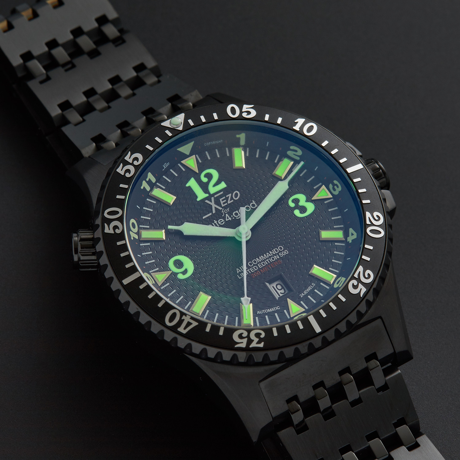 Xezo air commando diver pilot automatic d45 bl xezo touch of modern for Xezo watches