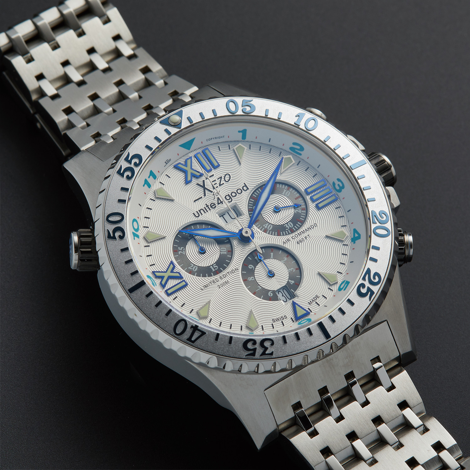 Xezo air commando luxury sport chronograph quartz d45 s xezo touch of modern for Xezo watches