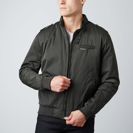 Twill Iconic Racer Jacket // Dark Green