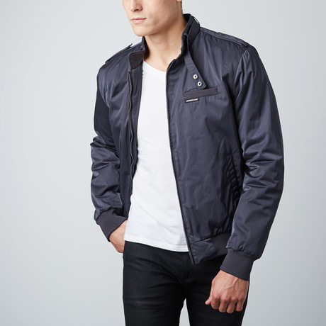 Twill Iconic Racer Jacket // Charcoal (S)