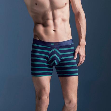 Striped Nylon Blend Boxer Briefs // Teal + Blue