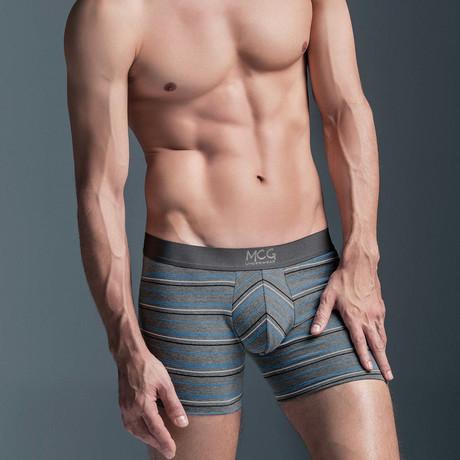 Skinny Multi-Striped Boxer Briefs // Grey + Aqua