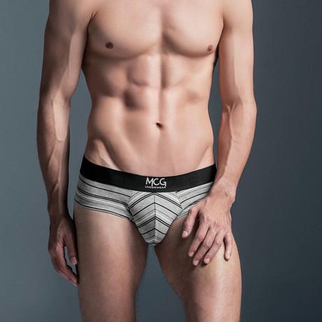 Striped Poly-Cotton Blend Briefs // Grey + Black