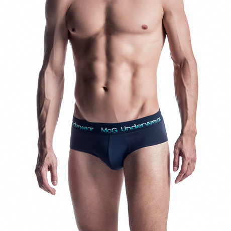 Center Mesh Panel Contrast Briefs // Dark Blue