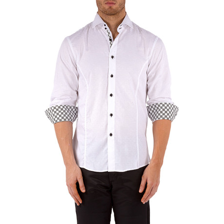 Matthew Checker Trim Long-Sleeve Button-Up Shirt // White (XS)