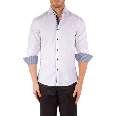 Lucas Grid Trim Long Sleeve Button-Up Shirt // White (XS)