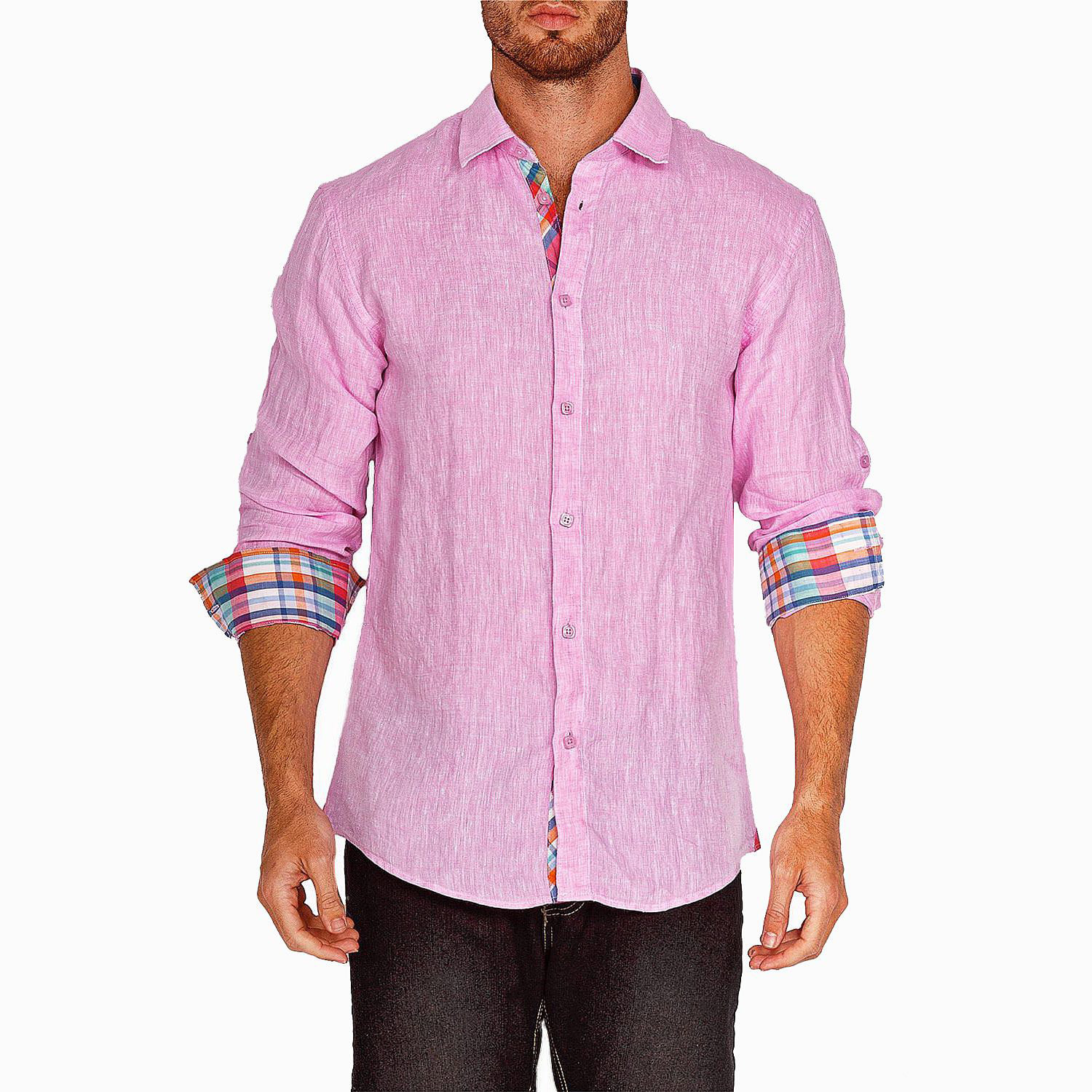 plaid trim long sleeve button up shirt pink s. Black Bedroom Furniture Sets. Home Design Ideas