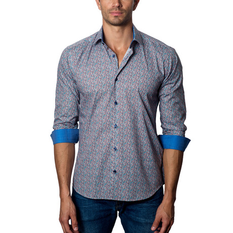 Woven Button-Up // Red + Blue