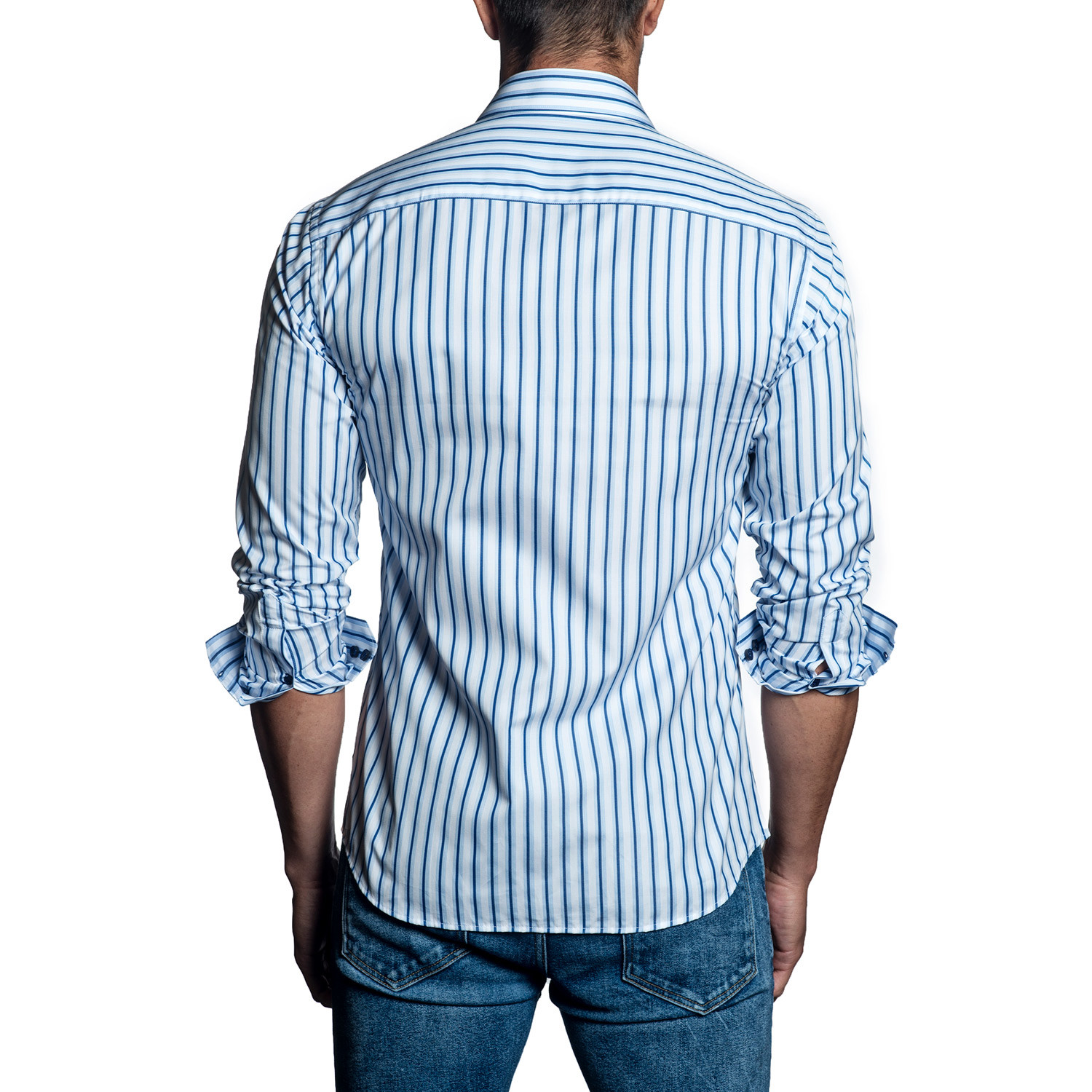 Striped Long Sleeve Shirt White Blue L Clearance