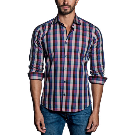 Checkered Woven Button-Up // Pink + Blue