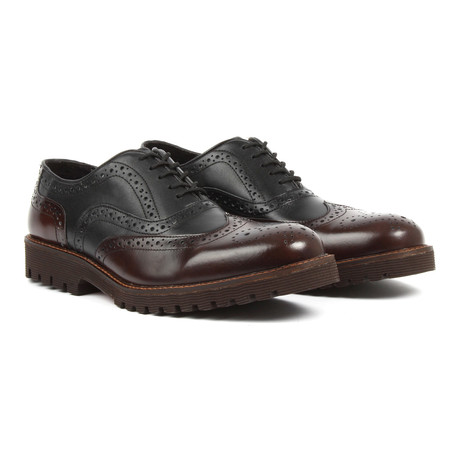 Capo Light Wing-Tip Brogue Oxfords // Black + Brown