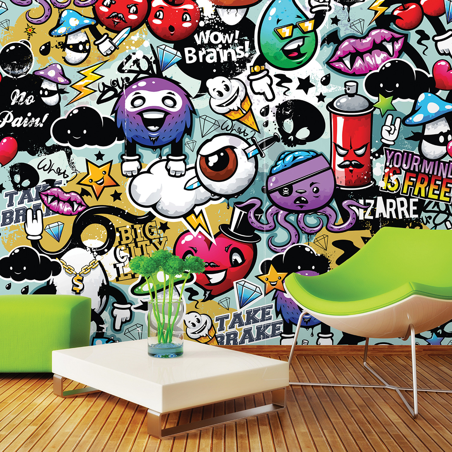 Graffiti Monster Wall Mural Brewster Home Fashions Touch of Modern