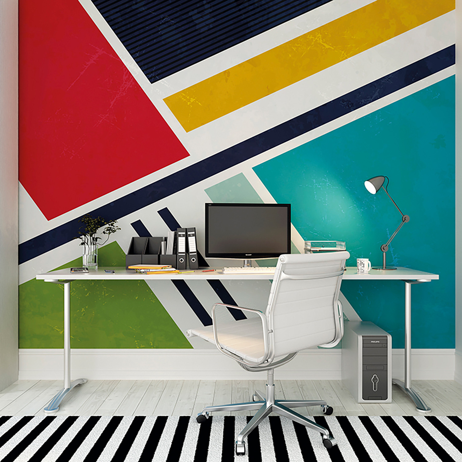 Retro Angles Wall Mural Brewster Home Fashions Touch Of Modern