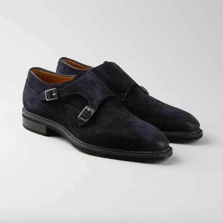 Suede Double Monkstrap // Abyss