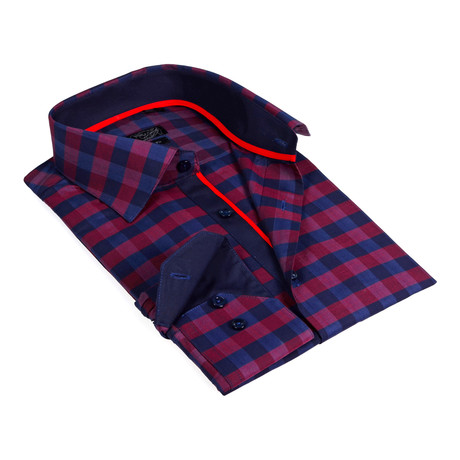 Solid Collar Oversized Plaid Button-Up Shirt // Burgundy + Navy (S)