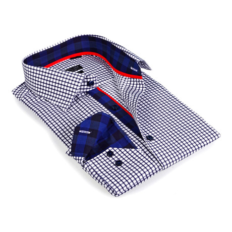 Gingham Collar Check Button-Up Shirt // Navy + White (S)