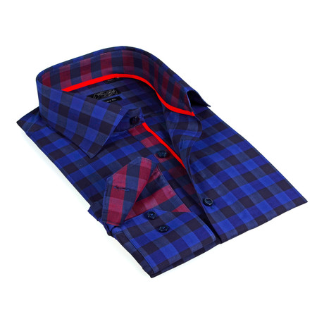 Contrast Collar Oversized Plaid Button-Up Shirt // Blue + Navy (S)