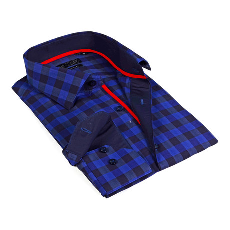 Solid Collar Oversized Plaid Button-Up Shirt // Blue + Navy (S)