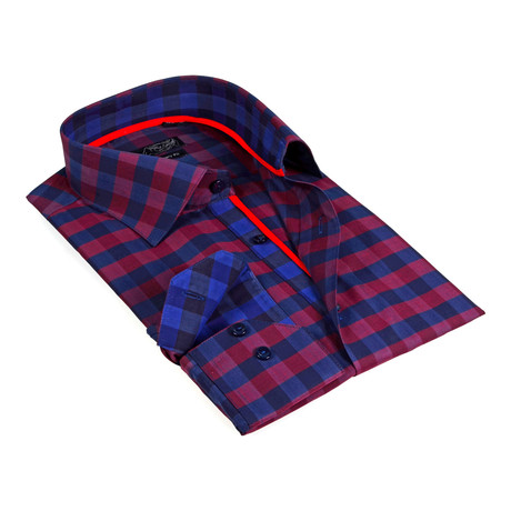 Contrast Collar Oversized Plaid Button-Up Shirt // Burgundy + Navy (S)