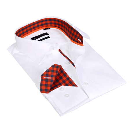 Gingham Collar Solid Button-Up Shirt // White + Red (S)
