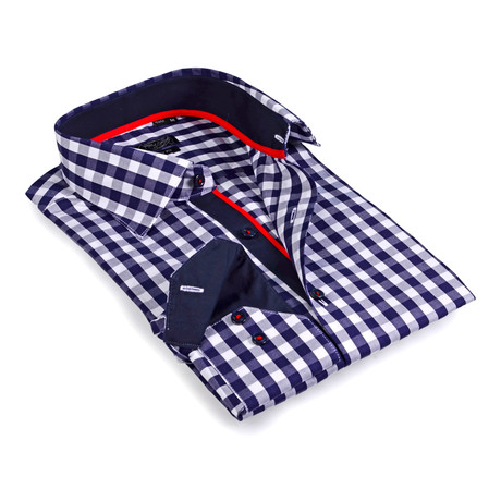 Solid Collar Gingham Button-Up Shirt // Navy + White (S)