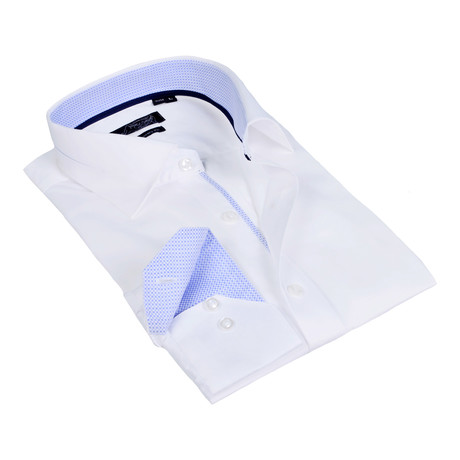 Textured Collar Solid Button-Up Shirt // White + Light Blue (S)
