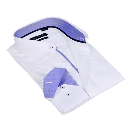 Herringbone Collar Solid Button-Up Shirt // White + Blue (S)