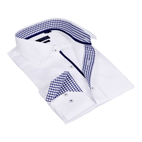 Plaid Collar Solid Button-Up Shirt // White + Navy (S)