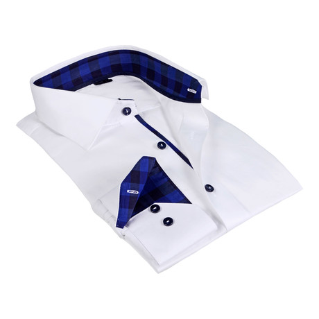Gingham Collar Solid Button-Up Shirt // White + Navy (S)