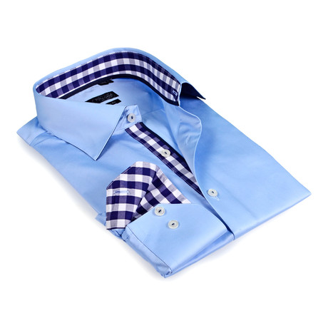 Gingham Collar Solid Button-Up // Blue