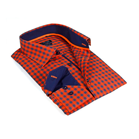 Solid Collar Gingham Button-Up Shirt // Orange + Navy (S)