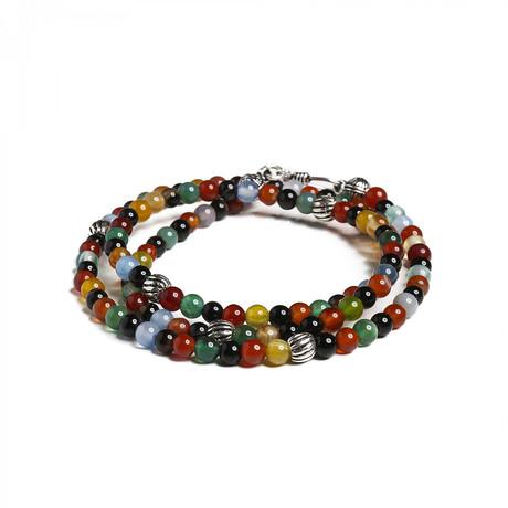 Double Wrap Mıxed Agate Beaded Bracelet // Multi