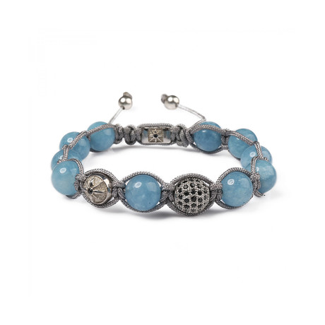 Kuvars Stone Beaded Bracelet // Blue + Gray (M)