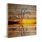 "Rippling Lake Sunset Painting Print // Natural Pine Wood (18""W x 18""H x 1.5""D)"