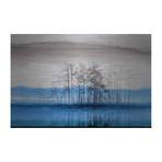 "Rise Above Blue Lake Painting Print // Brushed Aluminum (18""W x 12""H x 1.5""D)"